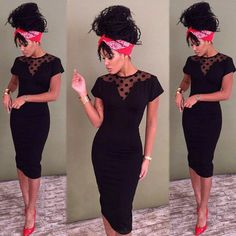 5eb89e6e584 $10.97 Short Sleeve Dress Dot Print Lace V Neck Hollow Patchwork Pencil  Dresses For Women -
