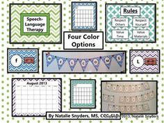 SLP Classroom Decor Kit!  Comes in green, purple, blue, and aqua, and contains everything you need to decorate your new speech therapy room, or complement you existing decor!