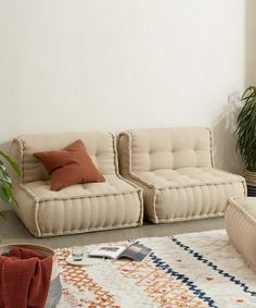 Sully Modular Large Floor Cushion, Oatmeal Cotton Slub