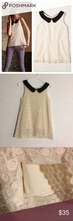 Anthropologie Lili's Closet Delancy Eyelet Blouse Size: small // • cream eyelet crochet blouse with lining underneath • lining is a little shorter than the eyelet • has black Peter Pan collar • great condition Anthropologie Tops Blouses