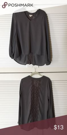Gray blouse with lace detailing Gray high/low blouse with lace detailing. Smoke free home. Eyeshadow Tops Blouses