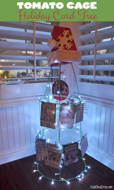 Holiday Card Tomato Cage Tree Craft-I don't need this but it sure is a cute idea. Yule Crafts, Holiday Crafts, Holiday Fun, Holiday Ideas, Christmas Ideas, Tomato Cage Crafts, Tomato Cages, Christmas And New Year, Christmas Holidays