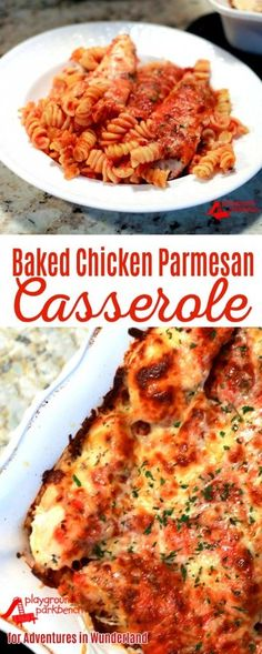 The latest one dish casserole in my Real Mom Meals series features an Italian classic, Chicken Parmesan baked in a casserole dish with layers of pasta, sauce chicken and cheese! A family friendly meal requiring just 15 minutes of prep that you can have on the table in less than an hour. | Real Mom Meals | Weeknight Family Dinners | Quick and Easy Dinners | Weeknight Meals | Simple Dinner |