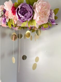 Beautiful Floral Nursery Mobile Lavender and Pinks   Etsy Newborn Photo Outfits, Girl Nurseries, Hanging Crystals, Nursery Letters, First Birthday Photos, Floral Nursery, Floral Letters, Hanging Flowers, Gold Polka Dots