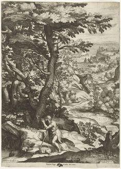 Cornelis Cort | Landschap met Johannes de Doper, Cornelis Cort, Bonefatio Breggi, Gregorius XIII, c. 1573 - c. 1575 | Glooiend rivierlandschap met biddende Johannes de Doper. Naast de knielende figuur ligt een lam.
