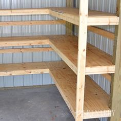Corner Shelves for Garage or Pole Barn Storage Great idea for DIY corner shelves to create storage in a garage or pole barn!Great idea for DIY corner shelves to create storage in a garage or pole barn! Garage Shelving, Garage Shelf, Garage Cupboards, Shelving Ideas, Garage Workbench, Diy Cabinets, Building Shelves In Garage, Garage Ideas Storage, Storage Room Ideas