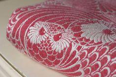 Linuschka Owls Red Velvet Wrap (japanese silk, seaweed)