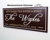 """Wood Family Name Sign with Quote """"Love Makes This House a Home""""Customized Last Name Wedding Gift Wall Plaque for Home Decor"""