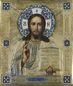 A RUSSIAN ICON OF CHRIST PANTOCRATOR. Moscow, 1892. Marks: Assaymark of Anatoli Apollonivich Artisibashev, Maker's mark D