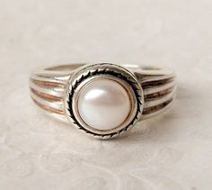 Art Deco White Pearl Ring   Sterling Silver   by GemstoneCowboy, $45.00