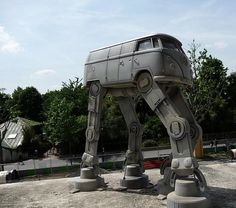 VW Bus converted to an AT-AT walker