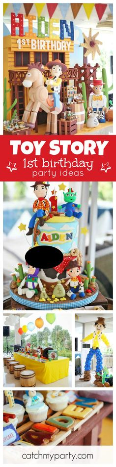This Toy Story/Logo 1st birthday party is amazing!! Love the decorations and the birthday cake! See more party ideas at CatchMyParty.com