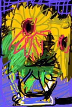 DAVID HOCKNEY: this is an iPhone drawing by a favourite artist of mine using Brushes an App in iTunes - so much fun