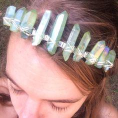 Mermaid Tail Tiara, Emerald aura quartz crystal crown, aura quartz tiara, raw crystal crown, crystal headdress, music festival headpiece, me by heatherfeathercannon on Etsy https://www.etsy.com/listing/459733370/mermaid-tail-tiara-emerald-aura-quartz
