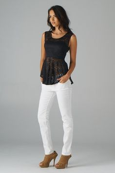 Lace Peplum Sleeveless Top; Love the outfit but not the shoes