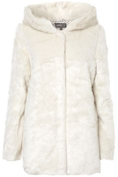 Cream Faux-Fur Hooded Coat in SALE from Apricot
