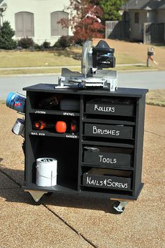 Mobile Shop Cart has storage for tools, supplies etc, plus it's painted in chalkboard paint so you can write measurements and notes right on it and wipe them off when you are done.