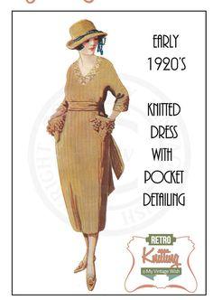 1920s Ribbed Dress Vintage Knitting Pattern – PDF Instant Download
