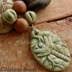 PALE GREEN DRAGONFLY  - Handmade Ceramic Pendant with 4 Coordinating Beads by HavanaBeads.etsy.com