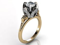 14k two tone yellow and white gold diamond unusual unique floral engagement ring, bridal ring, wedding ring by Jewelice, $1590.00