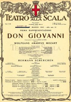 Don Giovanni, first performance poster, 1962/1963, Teatro La Scala, Milan, Italy. Rent #myhomeinMilan to discover the city! https://www.airbnb.it/rooms/781246