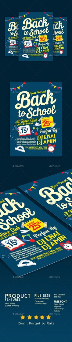 #Back To School #Flyer Template - Events Flyers Download here:    https://graphicriver.net/item/back-to-school-flyer-template/20370325?ref=alena994