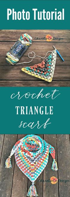 Beautiful crochet triangle scarf! Free crochet pattern for this colorful scarf. Photo tutorial included!