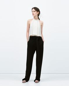 BELTED WIDE TROUSERS-View all-Trousers-WOMAN | ZARA United States