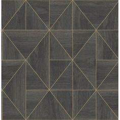 Look Wallpaper, Brown Wallpaper, Tile Wallpaper, Wallpaper Samples, Textured Wallpaper, Wallpaper Ideas, Contemporary Geometric Wallpaper, Geometric Wallpaper Metallic, Wood Tile Pattern