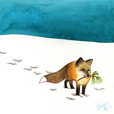 """Snowy Fox.""  Watercolor by Geninne D Zlatkis of Queretaro, Mexico.- I know it isn't a cat, but I don't have a fox board."