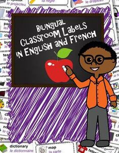 Bilingual Classroom Labels (French and English)Whether you teach English Language Learners or are a foreign language teacher yourself, youll find these classroom labels helpful. Use these cards to label your room, on a word wall, or print for individual reference.