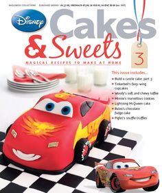 Lightening McQueen looks just as good in cake form. Disney Cakes and Sweets will show you how to make you baking dreams come true. #disneycakesandsweets