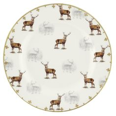 LOVE. Spode Glen Lodge Stag Salad Plate - Set of 4 | from hayneedle.com #stag #deer #plate #holiday #rustic #kitschy #cool