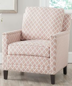 Safavieh Peach & White Galena Club Chair | zulily.  Love the color and fun pattern!