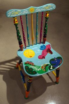 Sonny Day Chair by SteveBrouseArt on Etsy Painted High Chairs, Painted Wooden Chairs, Painted Rocking Chairs, Whimsical Painted Furniture, Hand Painted Furniture, Funky Furniture, Furniture Ideas, Painted Tables, Refurbished Furniture