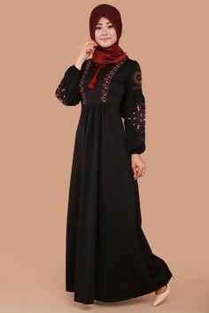 ** SONBAHAR / KIŞ ** Gülperi Çiçek Baskılı Pileli Elbise Siyah Ürün kodu: MDB3848 --> 74.90 TL