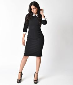 The Pretty Dress Company 1960s Black & White Uma Wiggle Dress