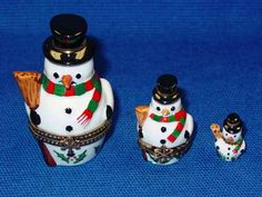 3 STACKING SNOWMEN - Porcelain Limoges from France - Limoges Factory Co.