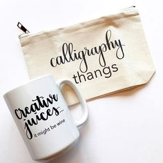 modern calligraphy mug - pencil pouch - calligraphy thangs - write pretty things