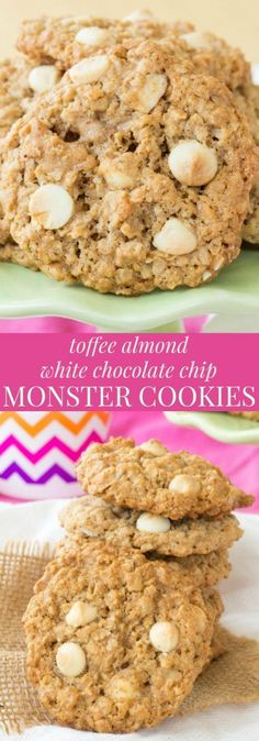 Toffee Almond White Chocolate Chip Monster Cookies - a twist on the classic Monster Cookie recipe that's buttery, nutty, and naturally gluten free. | cupcakesandkalech...