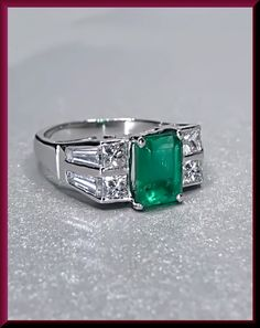 Antique Vintage Art Deco Platinum Emerald and Diamond Baguette Cocktail Ring by AntiqueJewelryNyc on Etsy