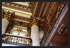 """The Goldener Saal (""""Gilded Hall"""") in Schloss Ludwigslust's central block rises through two storeys, with a colossal order of Corinthian columns and massive decorations carried out in stucco and the innovative moldable and modelable paper-maché called Ludwigsluster Carton."""
