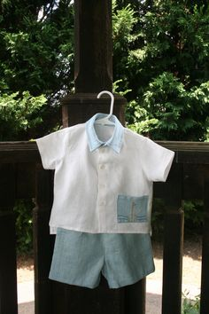 linen boys shorts / blue linen / children clothes/ por DressesAnd