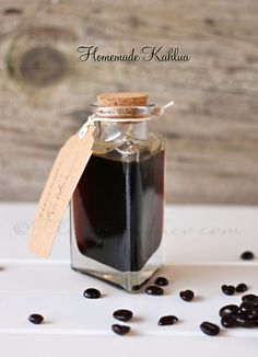 """Homemade Kahlua - """"This tastes really great even before adding the alcohol. So if you are looking for the flavor in your recipe but don't plan on cooking out the alcohol & want it """"virgin"""" style- you can omit the vodka at the end. Liquor Drinks, Cocktail Drinks, Fun Drinks, Yummy Drinks, Alcoholic Drinks, Beverages, Bourbon Drinks, Flavored Vodka Drinks, Kahlua Drinks"""