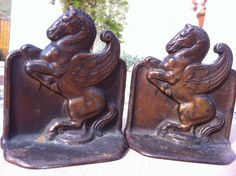 Magnificent! Antique PEGASUS Art DECO Copper Bronze Iron 1925 SIGNED Bookends, Now-Fabled Snead & Co.