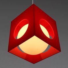 RARE VINTAGE MID CENTURY MODERN CUBE & BULB CEILING LAMP POST ART DECO BAUHAUS