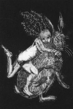 Circus Print. Black and White. Etching. Theatrical Artwork. Fantasy print. Surreal. Fairytale. Hare Rabbit. Imaginative. Unique Illustration by sassyluke on Etsy