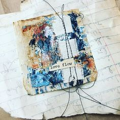 Teabag #11 not at all my norm. #teabagart #collage #mixedmediaart #sewnpaper #texture #creativefreedom #markmaking #Regram via @southerngals_designs)