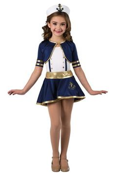 Style# 17466 SHIP TO SHORE White spandex leotard with adjustable nude elastic straps. Separate navy and gold metallic spandex jacket and skirt. Spandex binding, stud and anchor applique trim. Headpiece included. XSC-XXLA