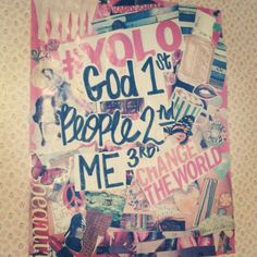 Tumblr room wall art! Make a collage on old posters and add quote.